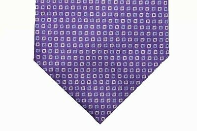 Battisti Tie Purple with cream and sky blue square pattern, pure silk