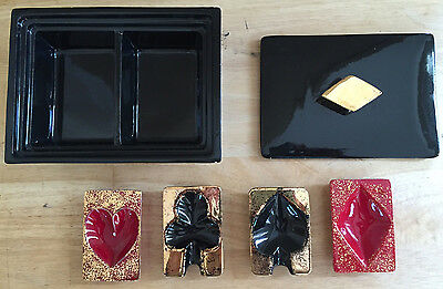 Vintage Mid Century Black Gold Double Cigarette Box with 4 Card Suit Ashtrays