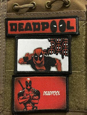 3 Deadpool Morale Patch Lot Tactical Military Army Badge Hook Flag