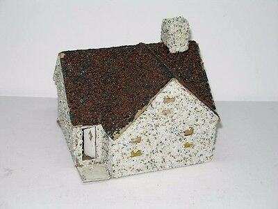 Antique Vintage Detailed Putz House With Brown Roof