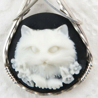 White Flower Cat Cameo Pendant .925 Sterling Silver Jewelry Resin