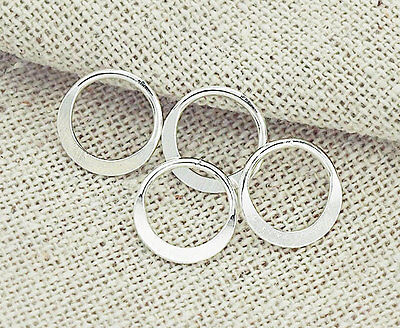 925 Sterling Silver 6 Circle Links, Connectors 10 mm.