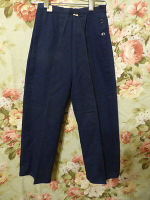 50s Girls navy twill side waist button pants New/OLD size 8 21 waist