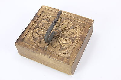 Carved Decorative Wooden Block Single Coat Or Hat Hook Flower Design Primitive