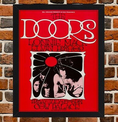 Framed The Doors Cow Palace Concert Poster A4 / A3 Size In Black / White Frame