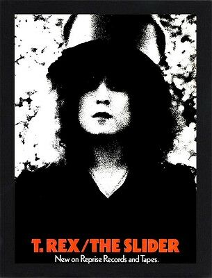 Framed T-Rex Marc Bolan The Slider Poster A4 Size Mounted In Black / White Frame