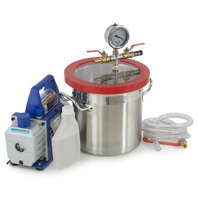 2 Gallons Vacuum Chamber Silicone Degassing Expoxy w/ 1/3HP 4 CFM Vacuum Pump