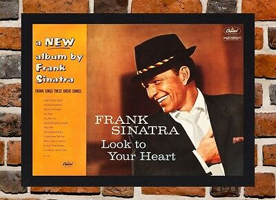 Framed Frank Sinatra Look To Your Heart Poster A4/A3 Size In Black/White Frame