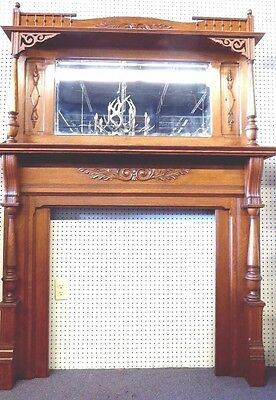 "Antique Fireplace Mantle. Oak.Beveled Mirror.Lattice Work.Columns. 81"" x 60""W."