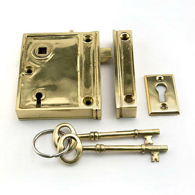 Vertical Brass Rim Lock Set with Black Porcelain Knobs - Right Hand - Polished