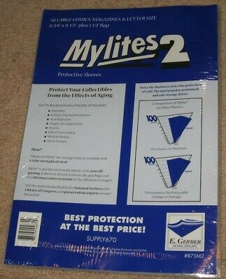 100 Mylites 2 Mil Mylar Large Comic Book/Thin Magazine Bags/Letter sleeves 875M2