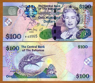 Bahamas, 100 dollars, 2009, Pick 76, QEII, UNC > Colorful