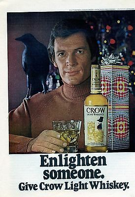 Vintage 1973 Crow Light Whiskey Liquor Print Ad