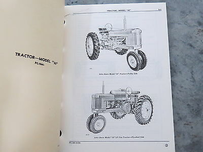John Deere 50 Tractor Two Cylinder Parts Catalog 1959