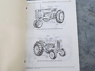 John Deere 70 Diesel Tractor Two Cylinder Parts Catalog 1965