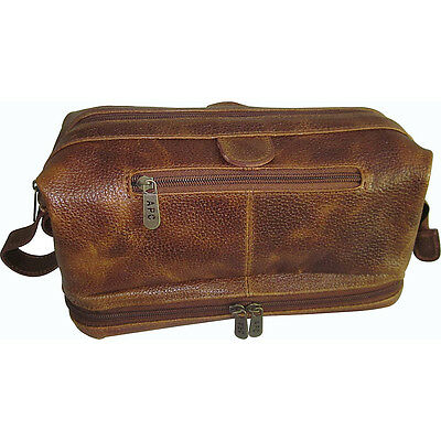 AmeriLeather Leather Toiletry Bag w/ Accessories 4 Colors Toiletry Kit NEW