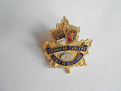 Vintage 1970 Canadian Curlers Visit to Scotland Enamel Canada Curling Lapel Pin