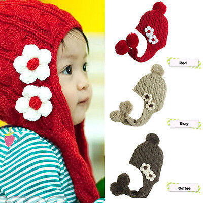 Toddler Baby Winter Warm Beanie Hat Hooded Scarf Earmuff Girls Boys Knitted Cap