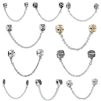 European Safety Chain Bead For Brand Charms 925 Sterling Silver Bracelets Bangle