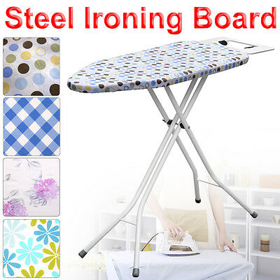 Large Wide Light Weight Steel Ironing Board Iron Rack 10 Step Height Adjustable