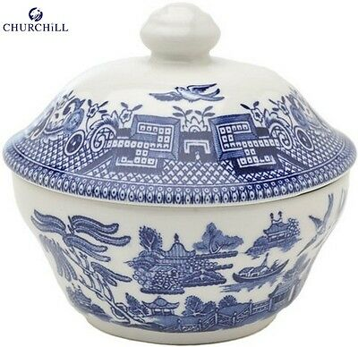 Churchill Earthenware Blue Willow Sugar Bowl with Lid Serveware Kitchen New