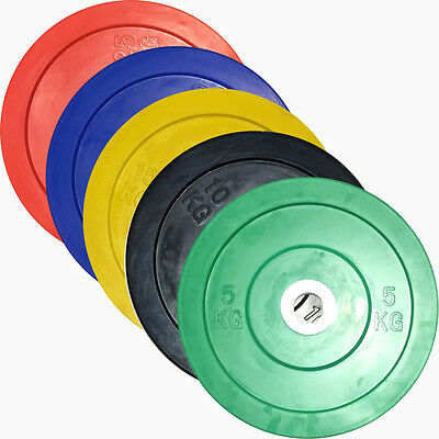 EVINCO 2 x 5kg-25kg Olympic Bumper Plates with Centre Hub Discs Commercial Gym