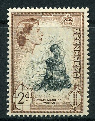 SWAZILAND;  1956 early QEII fine Mint hinged 2d. value