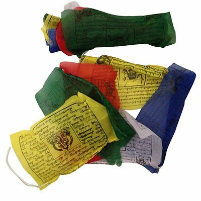 HAND MADE TIBETAN BUDDHIST PRAYER FLAGS WIND HORSES NEPAL 25 FLAGS 5m