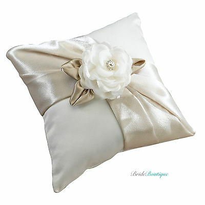 Taupe Beige Satin Rose Flower Wedding Decoration Ring Cushion Pillow