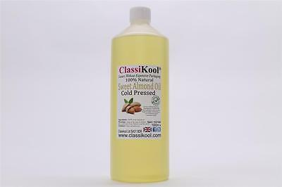Classikool 1 Litre 100% Pure Sweet Almond Oil Cold Pressed Carrier Massage Oil