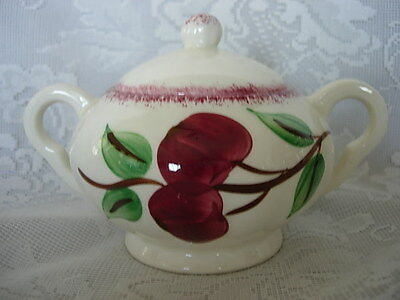 Vintage BLUE RIDGE SOUTHERN POTTERIES Crab Apple Hand Painted Sugar Bowl - USA