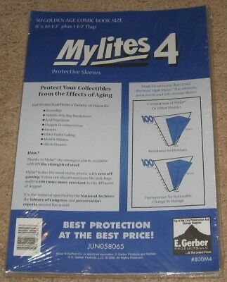 100 E Gerber Mylites 4 Mil Mylar Golden Age Comic Book Bags 8x10.5 Sleeves 800M4