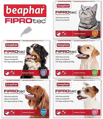 Beaphar FIPROtec Flea Spot On for Small Medium Large XL Dogs Puppies & Cats