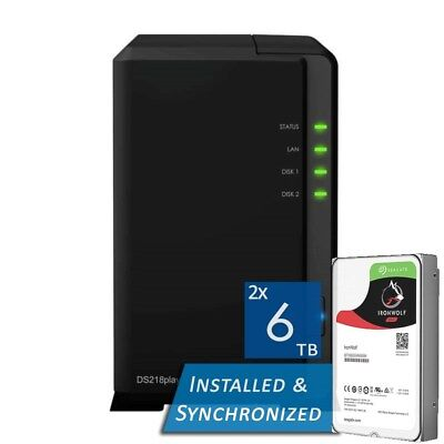 Synology DiskStation DS218play 2 Bays NAS + 12TB 2x Seagate 6TB ST6000VN0033