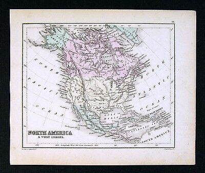 c. 1858 Atlas Map - North America - United States Canada Mexico Alaska Texas