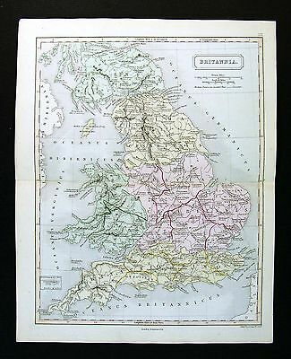1867 Sydney Hall Map Britannia Ancient Britain England Wales