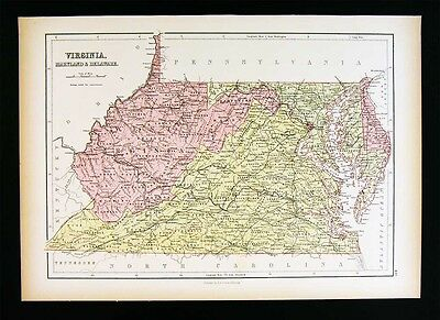 1879 Black Atlas Map - Virginia Maryland Delware Washington DC West VA Richmond