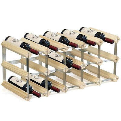 New 15 Bottle 3 Tier Assemble Wooden Wine Rack Natural Wood Storage Traditional