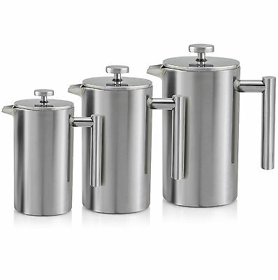 Double Wall Stainless Steel Cafetiere Ground Hot Coffee Filter Press Plunger