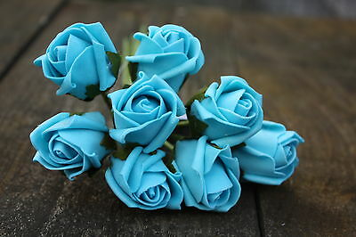 8 x TURQUOISE COLOURFAST FOAM ROSE BUDS 2.5cm WEDDING FLOWERS