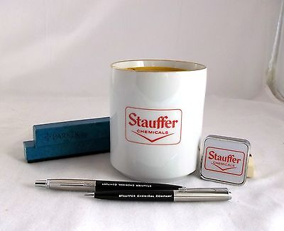 Stauffer Chemicals Vintage Advertising Lot Parker Pen Pencil Set Mug Tape Measur