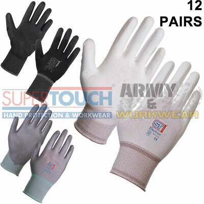 12 x Pairs Work Gloves PU Coated Safety Mechanic Engineering Packing Assembly