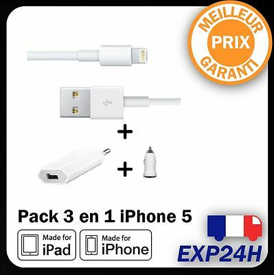 Chargeur prise/USB secteur+voiture iphone 5/S/6/S/6+iPAD AIR/2/Mini/TOUCH5/NANO7