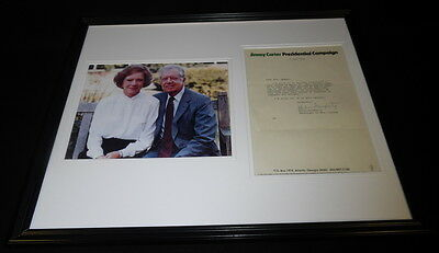 Jimmy Carter Presidential Campaign Framed ORIGINAL 1976 Letter & Photo Display