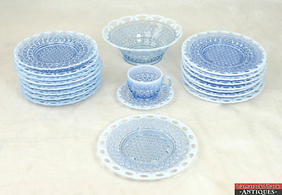 Lot of 19 Imperial Glass Katy Laced Edge Blue Opalescent Set Salad Plates L7X