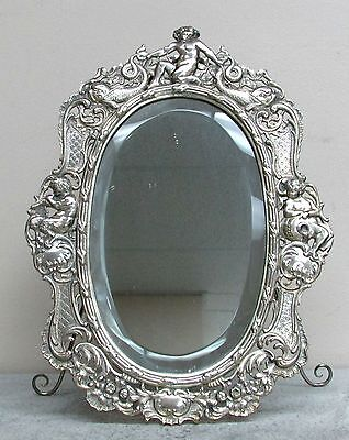 Magnificent Antique German 800 Silver Reticulated Silver Mirror