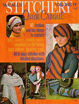 McCalls Stitchery Quick Crochet Shawl Hat Scarf Bag Sweater Easy Patterns 1976