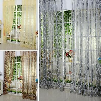 Trendy Chic Leaf Tulle Voile Door Window Curtain Drape Panel Sheer Scarf Valance