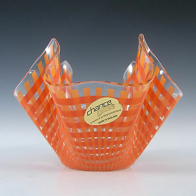 "Chance Brothers Orange Glass ""Gingham"" Handkerchief Vase - Label"