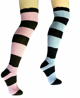 Ladies Womens Cotton Knitted Over Knee High Striped Socks Blue or Pink Size 4-8